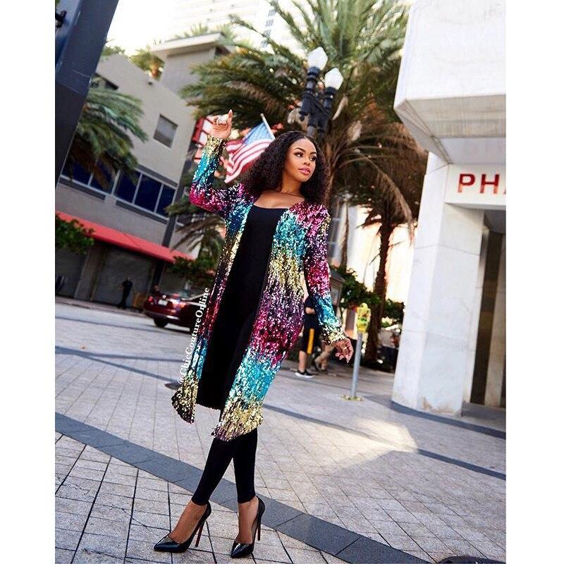 vent Photo Long Color Longues Mode Femmes Couleur Paillettes Haute S Manches Luxe À De Coupe Contraste Paragraphe Qualité Manteau xl Cardigan qFRa0WHx