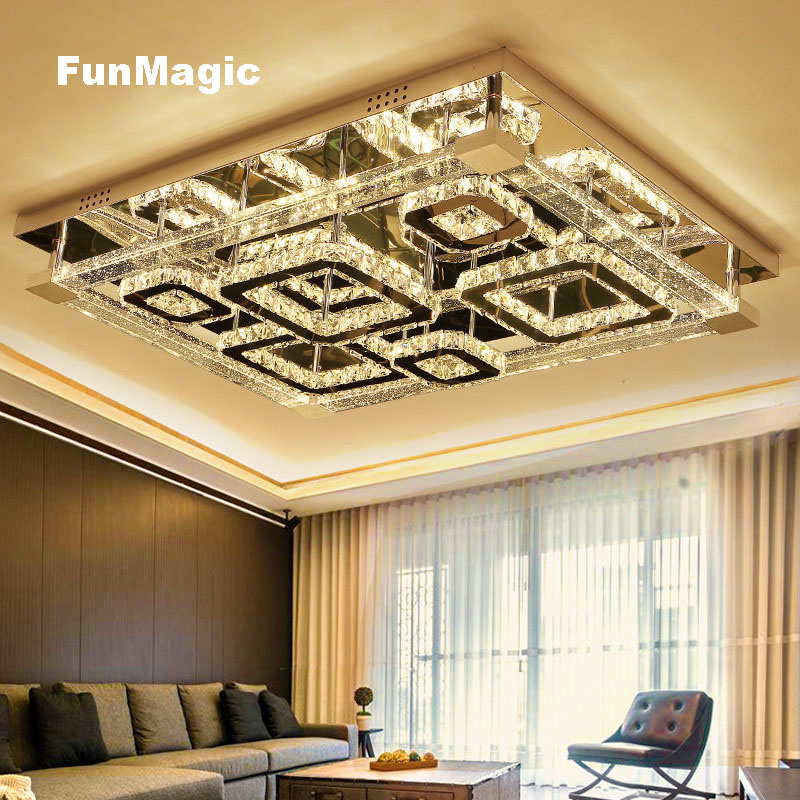 Modern Rectangle Geometric Solid Crystal Column LED Ceiling Lights 3 Color Temperature Dimming Living Room Bedroom Lighting Lamp