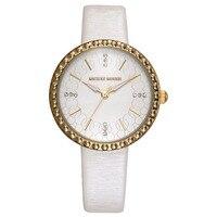 Femme montres Véritable en cuir quartz femmes horloges Disney marque de luxe diamant Mickey Mouse blanc rose bande 30 m étanche