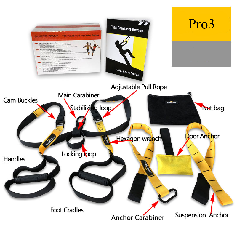 XC Resistance Bands Hanging Training Strap Workout Exerciser Trainer Belt Crossfit Fitness Equipment Total Resistance Exercise (3)