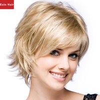 Esin Cheveux Synthétique Moyen Longueur Naturel Ondulés Fluffy Layered Coiffure avec Bang Blanc Femmes Perruque Blonde Livraison Gratuite