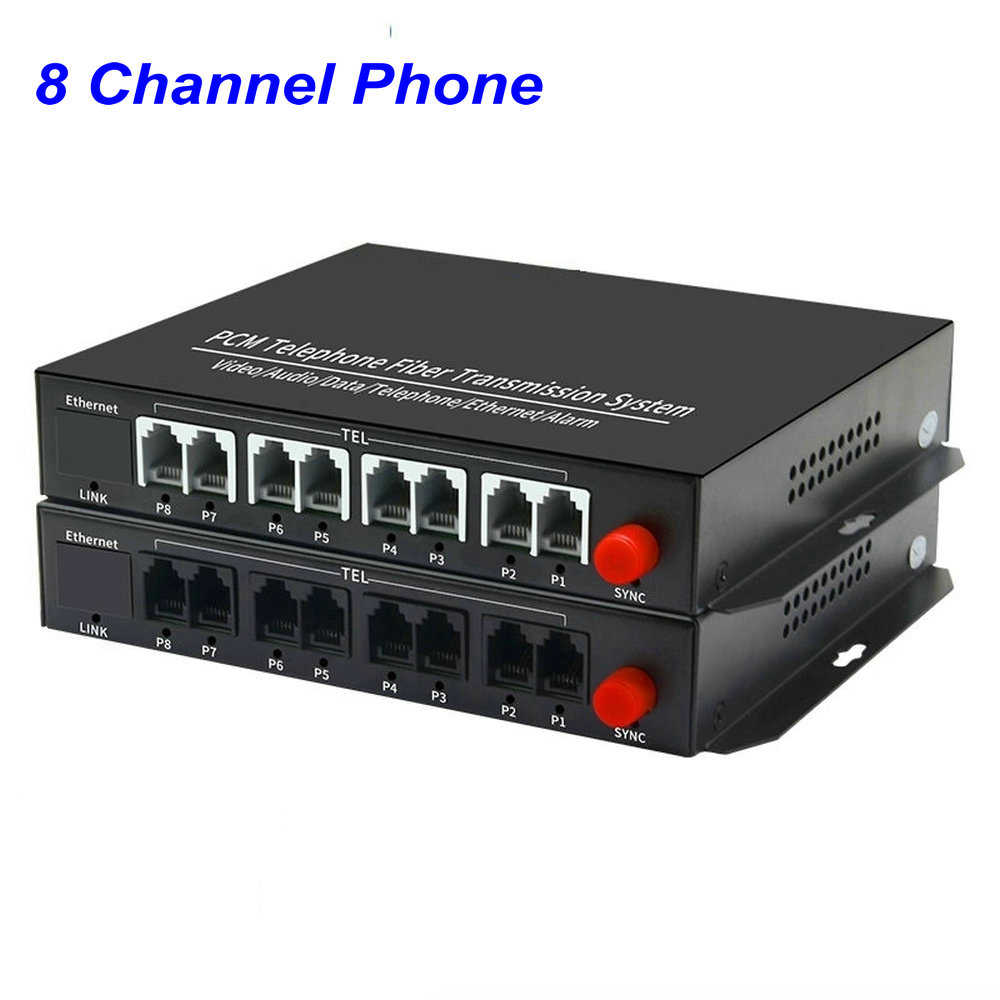 1 Pair 8 Channel- PCM Voice Tel Over Fiber Optic Multiplexer Extender,FC Optical Port,Support Caller ID And Fax Function