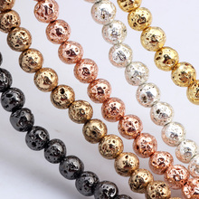 Olingart Natural Volcanic Rock Stone Plating gold/silver/Rose Gold/copper/black Round Beads 4/6/8MM DIY Necklace Jewelry Making