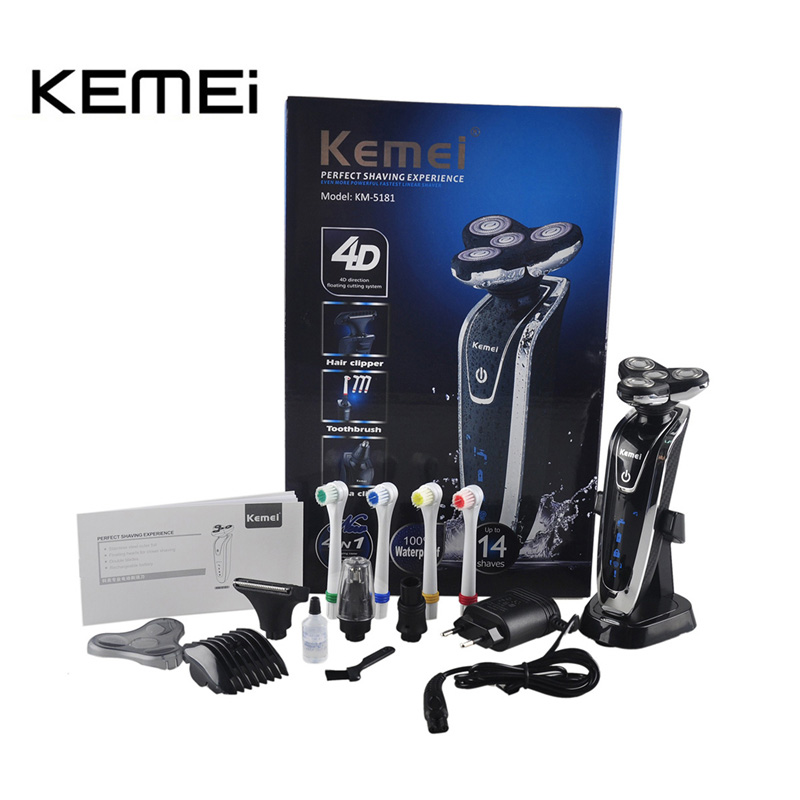 Kemei KM-5181 Rechargeable Men's Electric Shaver 4 In 1 Shaving Machine Set Hair Nose Trimmer Toothbrush for Men Face Care Tools kemei 2 heads rechargeable electric shaver reciprocating electronic shaving machine rotary hair trimmer face care razor bt 086