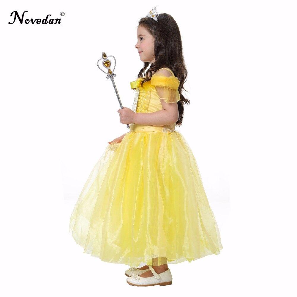 Girls Princess Belle Dress Up Costume Kids Sleeveless Yellow Party Dress  Costume Child Girl Halloween Xmas Birthday Ball Gown  d0d58269bc5e