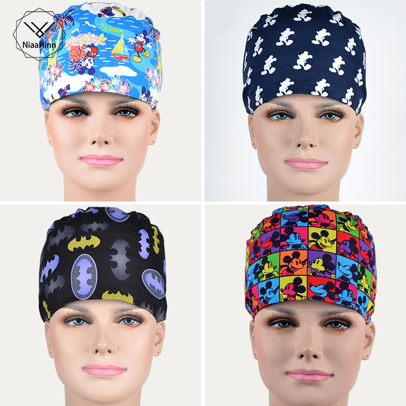 Woman's Scrub Hats Cartoon Printed Doctor Nurse Working Cap Pharmacy Dentist Medical Accessories Cotton Material Surgical Caps