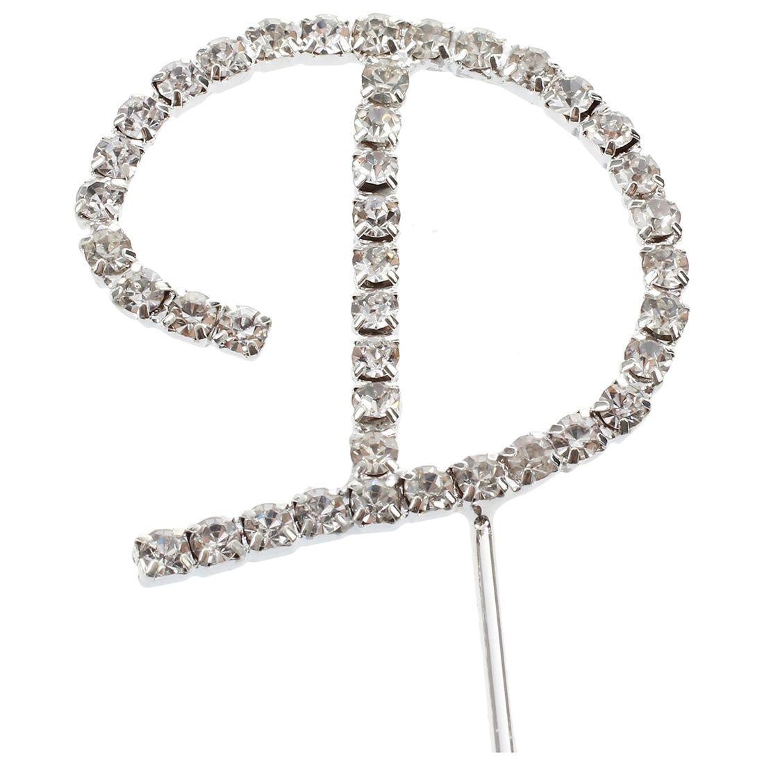 ALIM Silver Alphabet Letter Rhinestone Crystal Monogram Wedding Cake ...