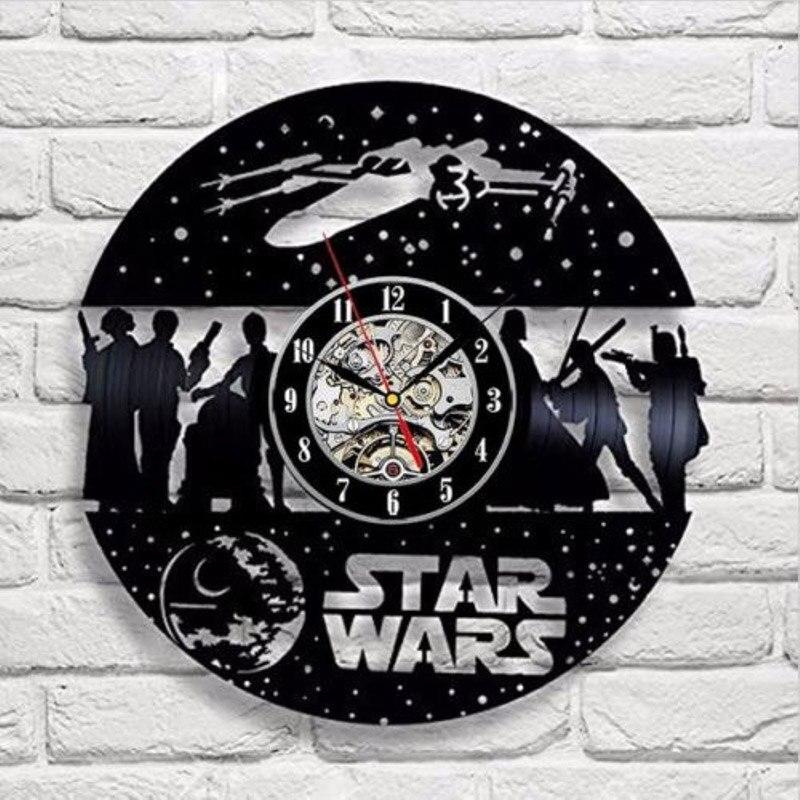 Black Round Star Wars CD Vinyl Record Wall Clock Hollow Creative Timepiece Art CD Clock 3D Decorative Hanging Watches LED Light