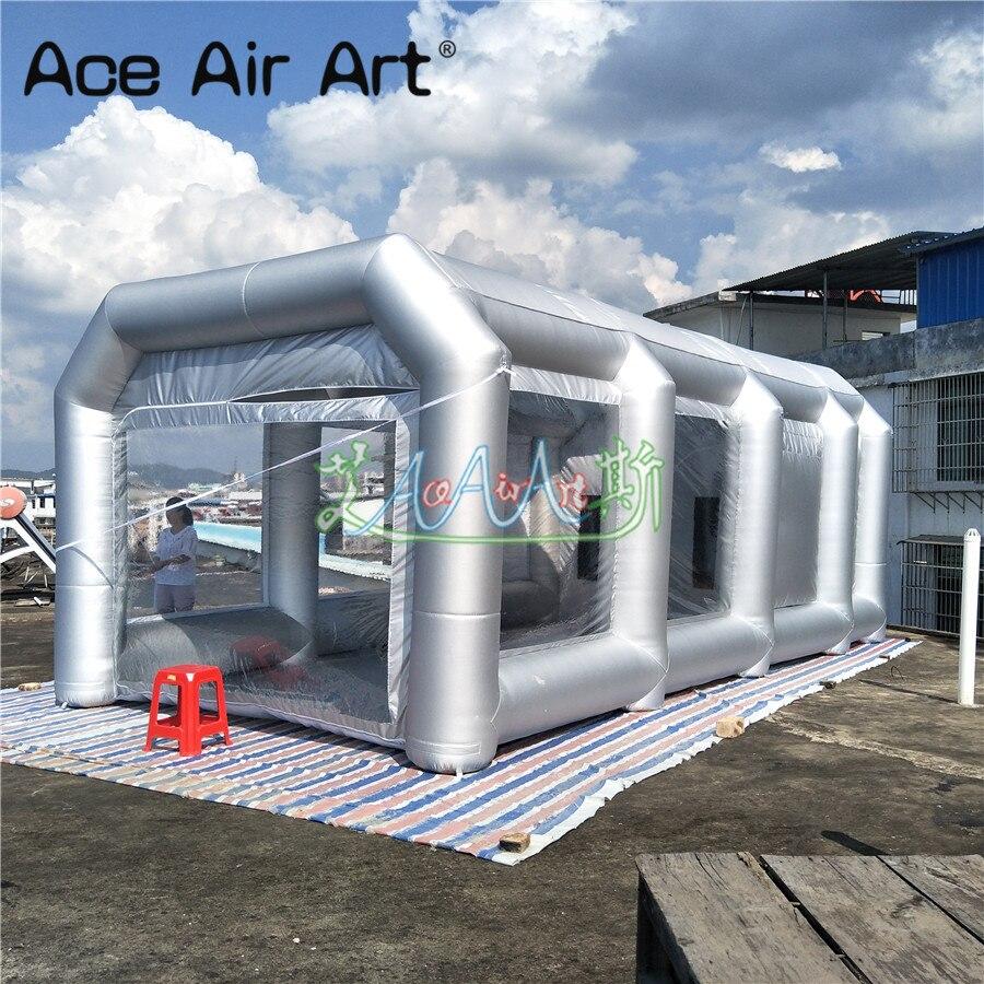 Cabine de pulvérisation gonflable de la meilleure qualité 8 m L, pièce de maison de tunnel de peinture de voiture avec le plancher de tapis et les portes de tirette à vendre