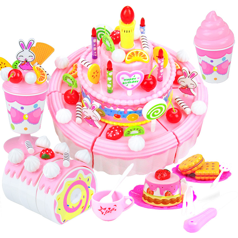 103Pcs DIY Pretend Play Fruit Cutting Birthday Cake Kitchen Food Toys Cocina De Juguete Toy Pink Blue Girls Gift For Children