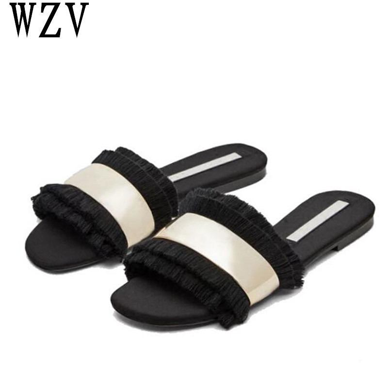 цены на Women Sandals Flip Flops New Summer Fashion tassel Shoes woman Slides Crystal Lady Casual Shoes Female flats sandals E099