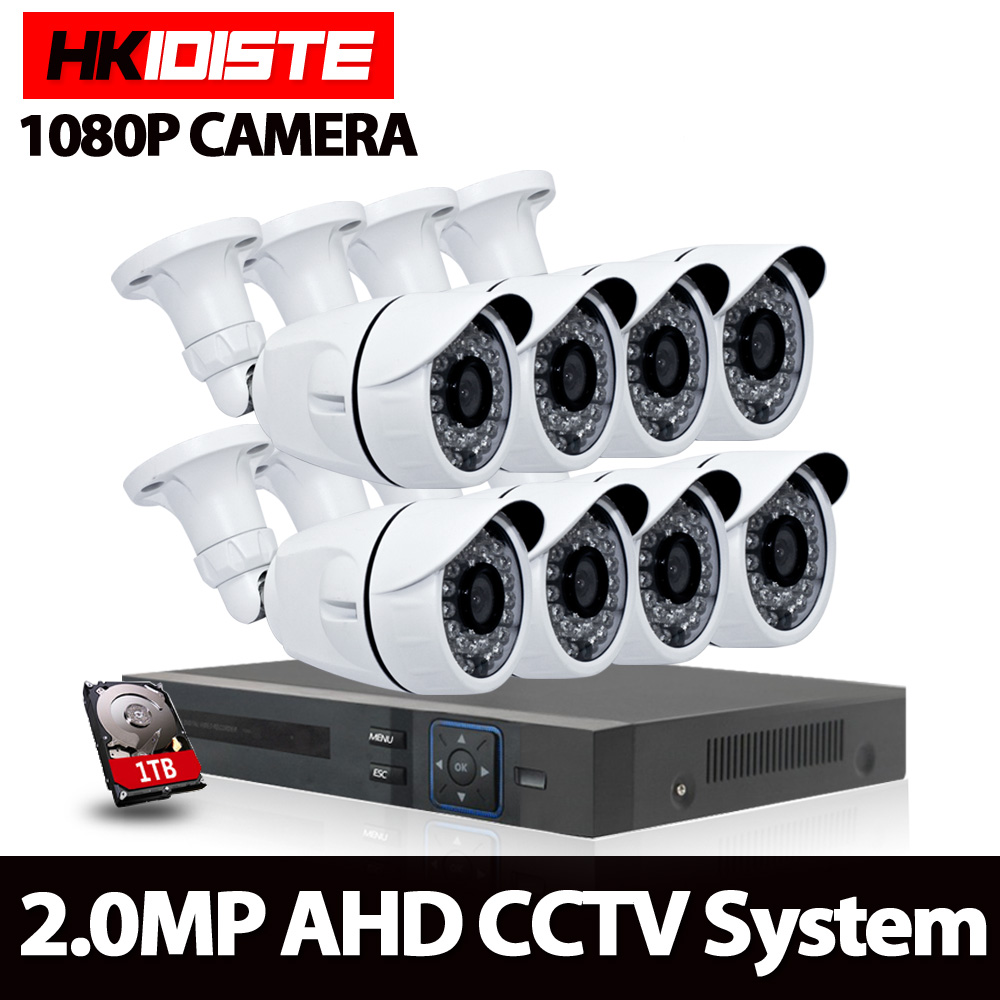 8CH CCTV System 1080P AHD DVR 8PCS 3000TVL IR Weatherproof Outdoor Video Surveillance Home Security Camera