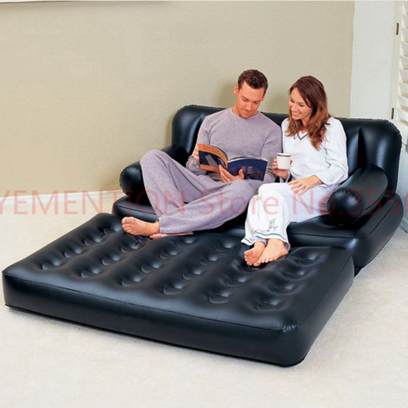 two people seat large bean bag lounger, solid black inflatable air sofa,living room couch sofa,indoor furniture set 5pcs