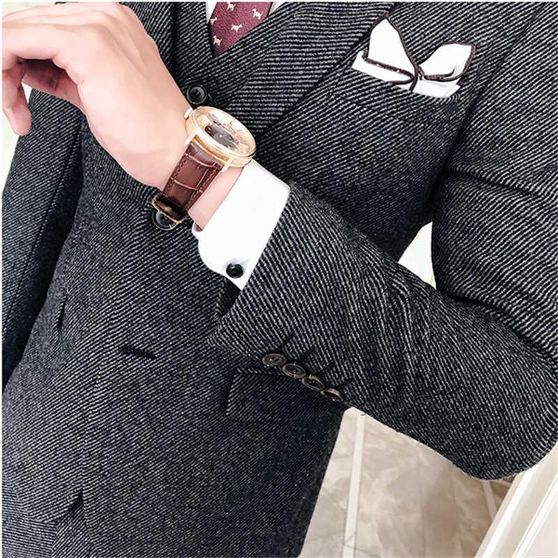 2019 新メンズスーツ 3 点セット S-XXXL ウールとポリエステルツイルメンズグレージャケットベストとパンツ高品質