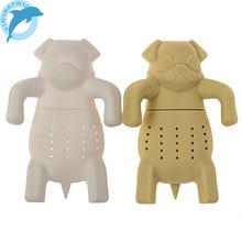 LINSBAYWU 1Pc Lovely tea infuser Pug In A Mug Silicone Tea Infuser Kawai Portable Dog Tea Strainers Free Shipping