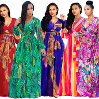 2019 new style African Women clothing Dashiki fashion Print elastic clothe long sleeves dress Super size Long Dress for summer