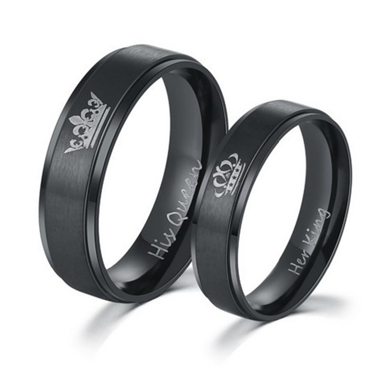 6mm IP Black plated color 316L stainless steel HIS QUEEN and HER KING couple rings for lovers