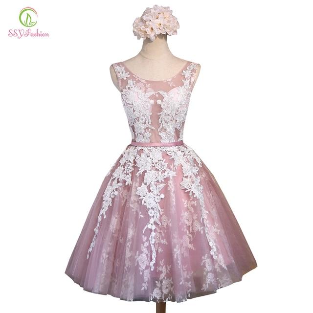 SSYFashion Banquete Curto Noite Vestido de Noiva Curto Flor Do Laço Rosa Transparente Sexy Slim A-line Vestido de Festa Vestidos Formais
