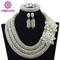 Серебряные Африканские Бусы Jewelry Set 2017 Нигерийские Свадебные Африканские Бусы для Невесты Партии Люкс Комплект Ювелирных Изделий Бесплатная Доставка WB913