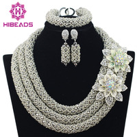 Silver African Beads Jewelry Set 2015 Nigerian Wedding African Beads For Brides Party Bridal Jewelry Set