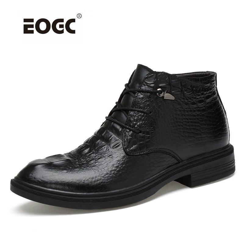 Zapatos de moda para hombre talla grande botas de tobillo súper calientes talla grande botas de nieve de cuero Natural genuino zapatos de invierno hechos a mano-in Botas de nieve from zapatos    1