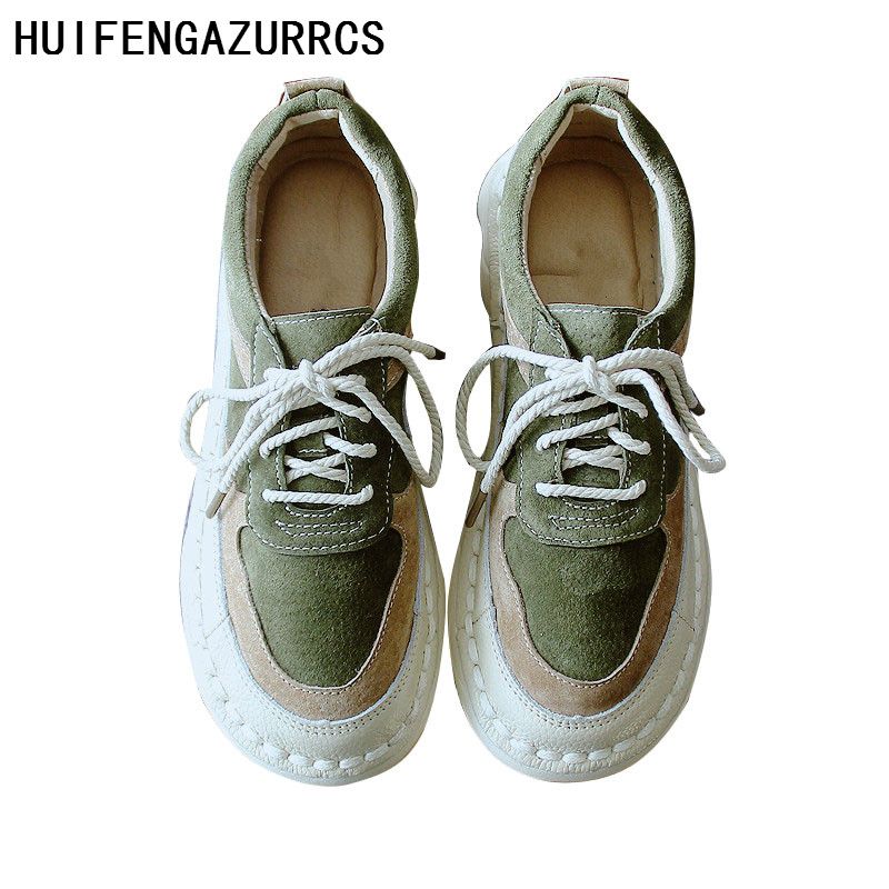 HUIFENGAZURRCS Originally Mori Low Up Shoes Soft soled Leisure Shoes Literature and Art Retro Single Shoes