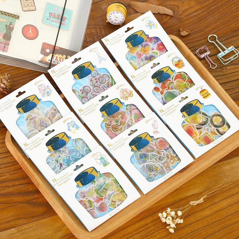 AB42 Kawaii Cute Bottle Design Package Romantic Clear Mini Stickers Phone Bottle DIY Decorative Stick Label Kids Gift Decor