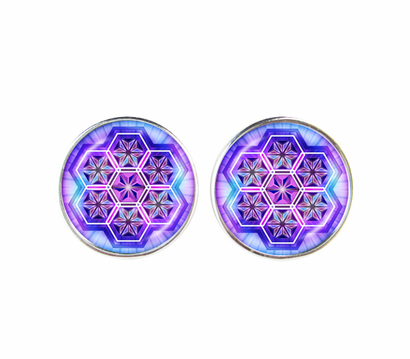 OM earring purple mandala jewelry namaste earrings yoga sign women mens earrings meditation,Zen, Buddhism om earrings wholesale