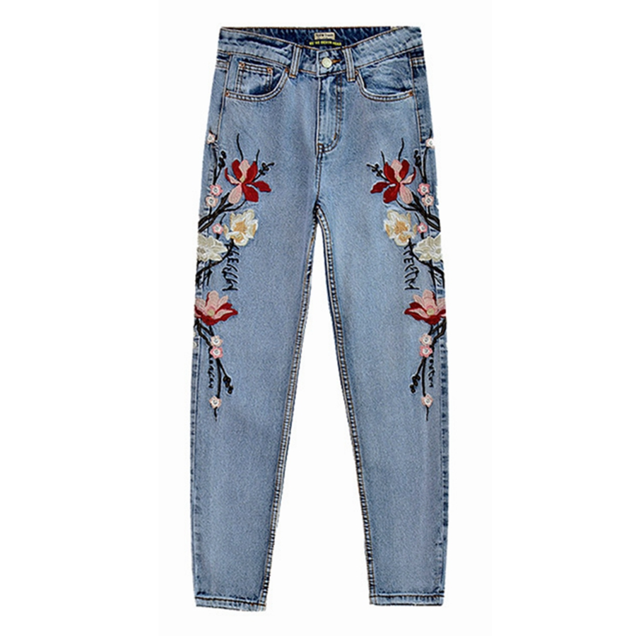 Vintage embroidered high waist jeans mom boyfriend jeans for women pencil skinny jeans woman trousers plus size
