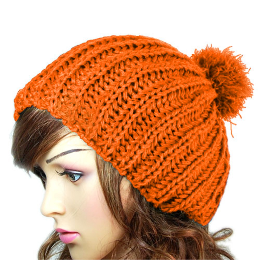 Fashion New Hats for Women Winter Women Lady Girl Warm Wool Crochet Knitted Beanies Slouch Baggy Cap Pompon Fur Hat Bonnet Femme 2017 new women ladies cable knitted winter hats bonnet femme cotton slouch baggy cap crochet beanie gorros hat for women