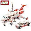Gudi 334 unids juguete plano de aire modelo de autobús avión modelo diy ladrillos bloques huecos fija juguetes clásicos compatibles con legoe