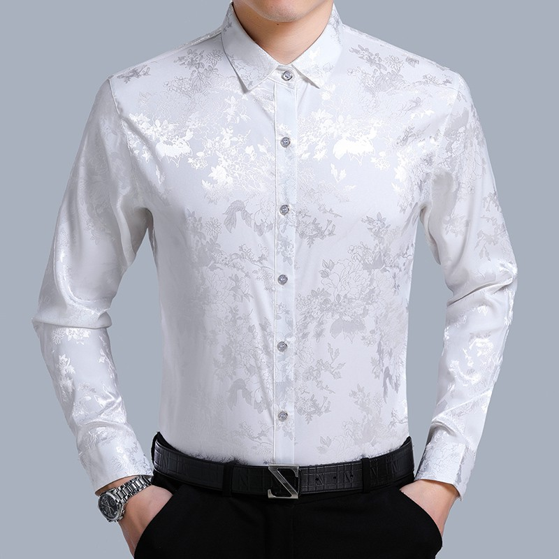 New 2018 Spring & Summer Mens Floral Silk Shirts Male Casual Fashion Striped Long Sleeve Soft Silk Dress Shirt