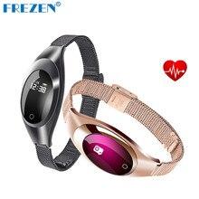 Frezen Z18 умный браслет часы jewelry браслет для женщин Приборы для измерения артериального давления сердечного ритма oled-дисплей Напульсники Часы для iOS и Android
