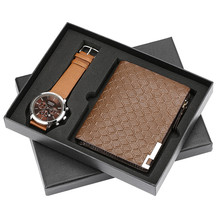 Male Quartz Wrist Watch Stripe Leather Wallets Gifts Set Classic Wallet for Dad Boyfriend Quartz Watch Fashion Money Bag
