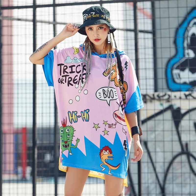 """Just. be. never Женская летняя футболка с капюшоном, мультяшный граффити, графический принт, kawaii, милые, """"hi-hi"""", хип-хоп, розовые, длинные, хлопковые футболки"""