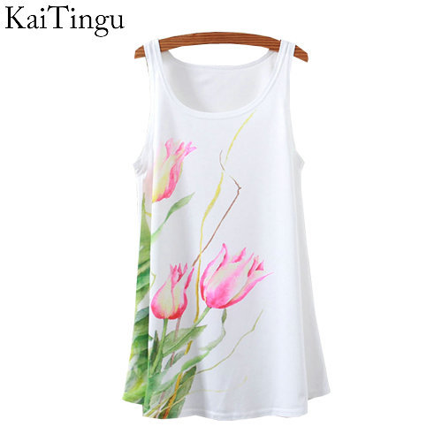 KaiTingu 2015 New Fashion Vintage Spring Summer Women Sleeveless Print Floral Printed T Shirt Tee Blouse Vest   Tank     Tops