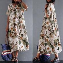 Loose Ladies Dresses Linen Cotton Casual Floral O-Neck Summer Maxi Dress Women Bohemian Long Holiday Beach Dresses vestido D30 цена