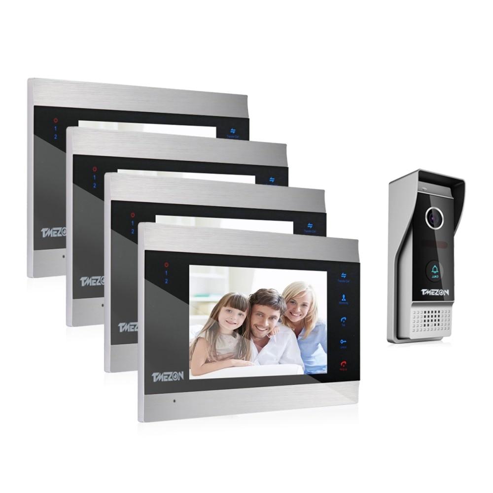 TMEZON 7 Inch TFT Wired Smart Video Door Phone Intercom System With 4 Night Vision Monitor + 2x1200TVL Rainproof Doorbell Camera