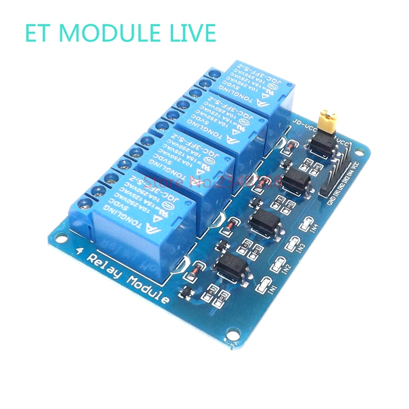 MH-ET LIVE 4 Channel Relay Module with optocoupler 5V low level trigger Board Shield For PIC AVR DSP ARM MCU Arduino 5v 4 channel relay module for arduino pic arm dsp avr msp430 blue