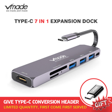 Vmade 미니 디자인 USB C 3.0 허브 타입 c 어댑터 1080p 화웨이 삼성 갤럭시 노트 s9 s8 타입 c USB C 7 in 1 허브 미니 컨버터