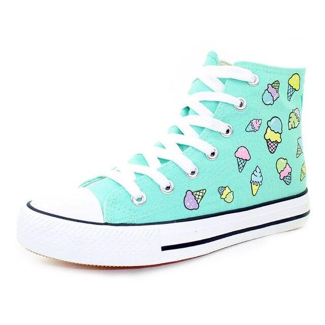 Мода Милый Мороженое Печати Женская Обувь 2016 Дышащие Ботинки Холстины Женщин Случайные Туфли На Платформе Девушки