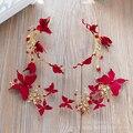 Moda borboleta vermelha hargrip mulheres grampos de cabelo menina pérola hairwear handmade acessório do casamento pinos de noiva fascinator yaoxuan