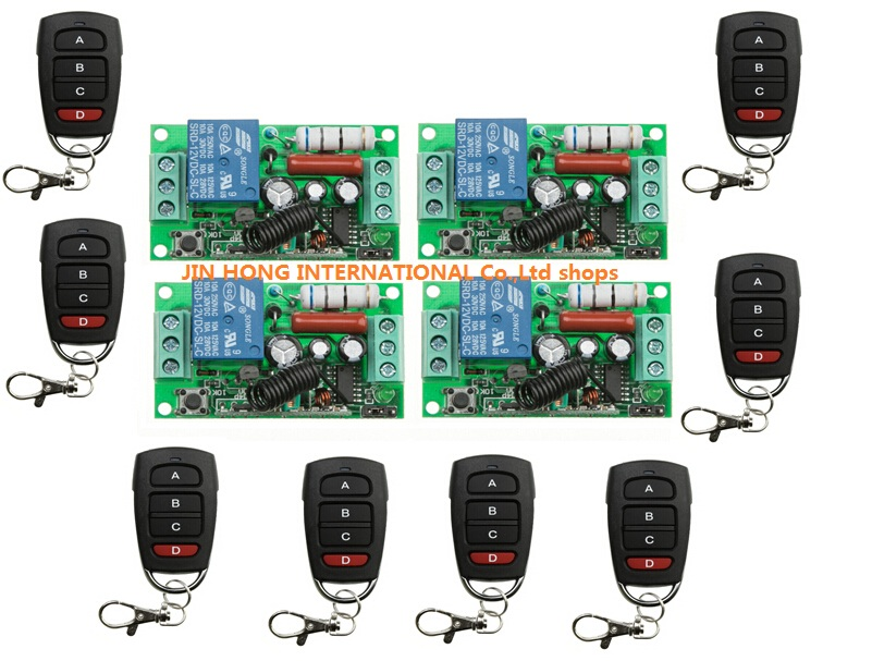 12pcs  RF Wireless 220V 10A 1CH Remote Control Switch 4* Receiver & 8* Transmitter 315/433 MHZ Smart Home Switch new dc12v 10a mini 1ch rf wireless remote control 4 receiver 4 transmitter 315 433 mhz white black remote control with abcd key