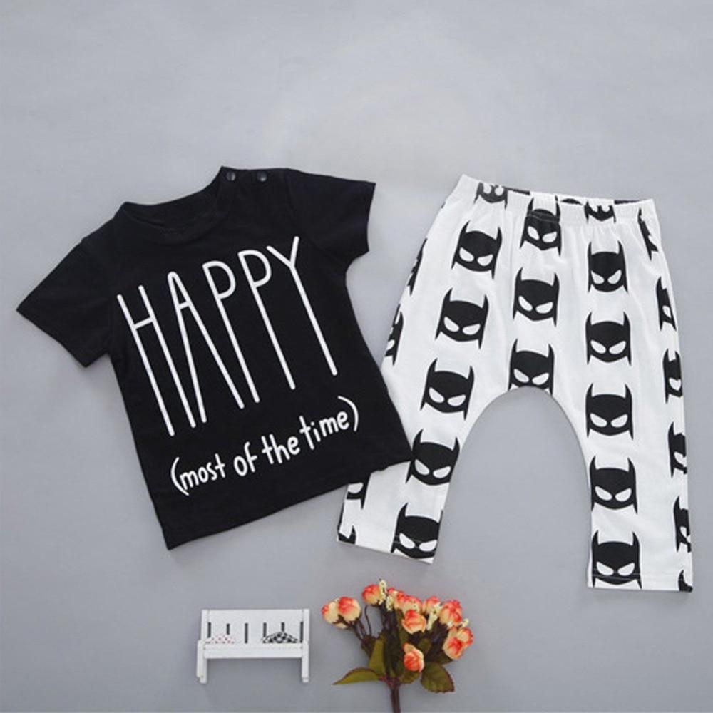 Black t shirt for babies - Hot Spring Summer 2pcs Toddler Infant Baby Boy Girl Black Short Shirt White Pants Children