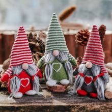 Striped Hat Christmas Holiday Figurines Ornament Swedish Plush Doll Winter Table Xmas Decorations Festival Gift Supplies