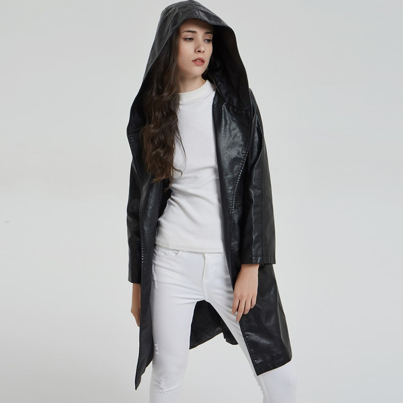 Queechalle 2019 Autumn Winter Long Leather Jacket Women's Fashion Hooded Long Sleeve Loose Coat Outerwear with Belt Black