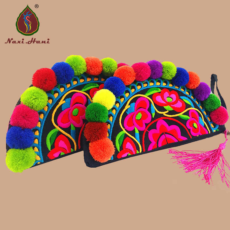 Newest Ethnic Embroidery Bags Vintage Handmade Pompom Clutches Bags Phone/Coin Small Bags