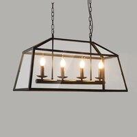 Архаический прозрачная акриловая абажур Ретро Лофт старинные подвесной светильник столовая Ресторан свет