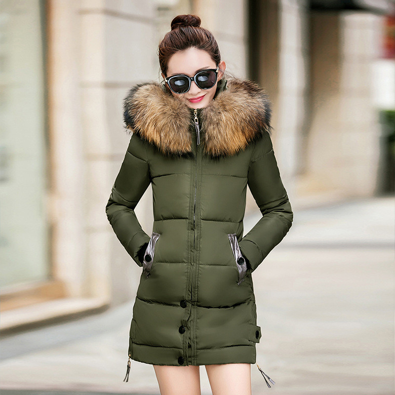 Winter Coat Women Fur Collar Overcoat Large Size Hooded Cotton Padded Parka Jacket Women Warm Parka Outerwear Female 3XL TT3154 women winter coat leisure big yards hooded fur collar jacket thick warm cotton parkas new style female students overcoat ok238
