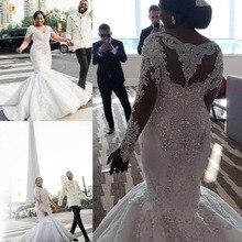 Afrika muhteşem artı boyutu düğün elbisesi es dantel aplikler boncuklu kristal V yaka Mermaid düğün elbisesi uzun kollu gelinlikler